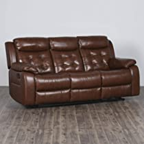 Home Centre Berlin Three Seater Half Leather Recliner – Tan