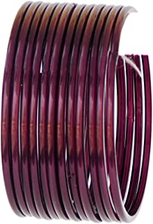 JD'Z Collection Indian Glass Bangle Set For Girls & Women Traditional Bollywood Fashion Jewelry Glass Bangles for Dailywear,Ethnic Wear Bangles Set of 12 (Wine 2.6)
