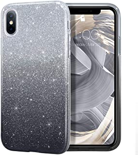 MILPROX iPhone Xs MAX Case Glitter Luxury Shiny Sparkly Silm Bling Crystal Clear, 3 Layer Hybrid, Protective Soft Case for iPhone X MAX(2018)- (Black Gradient)