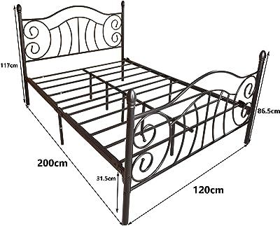 JURMERRY Lit en métal 120 x 200 cm noir sur cadre en acier avec sommier à lattes et tête de lit