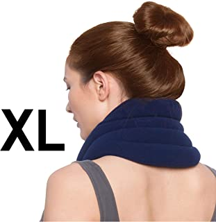 Sunny Bay Hands-Free Neck Heating Wrap: Microwavable Thermal Hot Pack, Heat Therapy Neck Brace for Sore Neck & Shoulder Muscle Pain Relief - Personal, Reusable, Blue (XL Navy)
