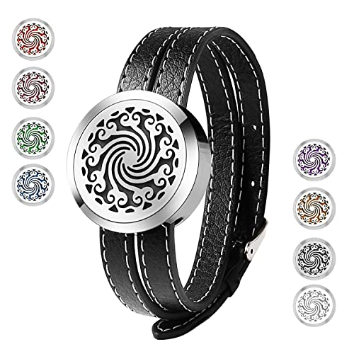 Essential Oil Diffuser BraceletStainless Steel Aromatherapy Locket Bracelets Leather Band With 8 Color Pads