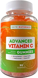 Vitamin C Gummies Chewable (90 Count) - Kate Naturals. Powerful Immune Support. Tasty Alternative to Pills. Antioxidants P...