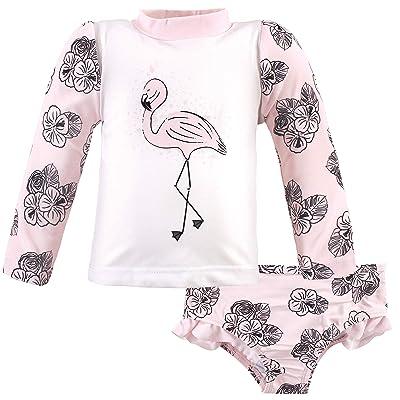 Hudson Baby Hudson Baby Unisex Baby Swim Rashguard Set, Floral Flamingo, 4 Toddler