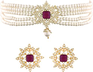 I Jewels 18K Gold Plated Traditional CZ Crystal with Pearl Choker Necklace Jewellery Set for Women/Girls (ML261)