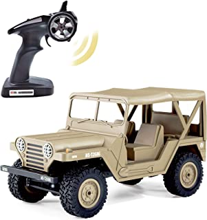 KELIWOW Military Jeep RC Car,1/14 Full Scale Proportion 4WD Off-Road Climbing Truck, 2.4G Army Radio Remote Control Buggy,15KM/h High Speed Rock Crawler for Adults