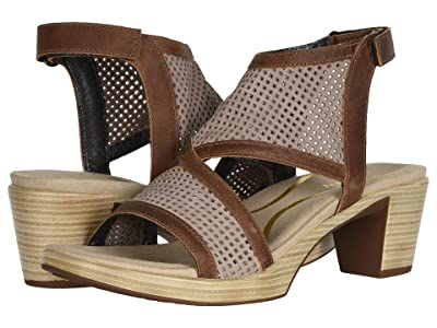 Naot Destiny (Stone Nubuck Perforated/Saddle Brown Leather) Women