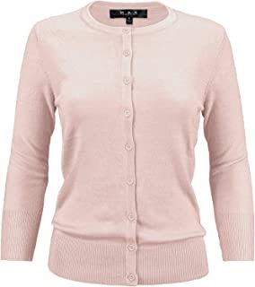 YEMAK Women's Crewneck Button Down Knit Cardigan Sweater Vintage Inspired CO079 (S-3X)