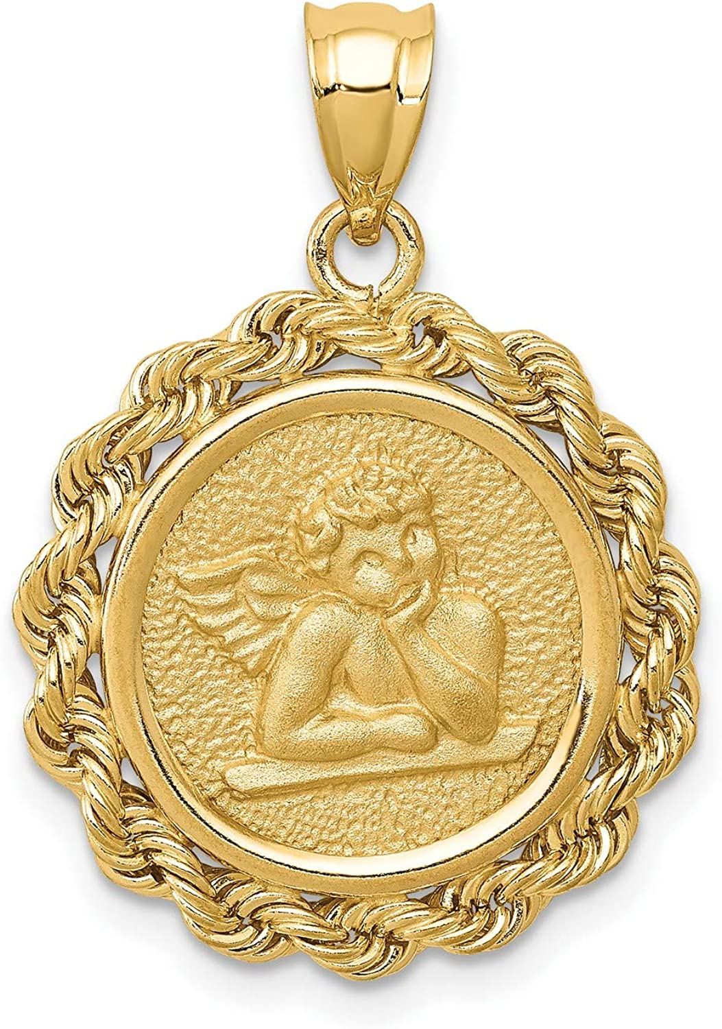 14k Yellow Gold Cherub Angel with Hand on Chin Pendant with Rope Border 25 mm x 18 mm
