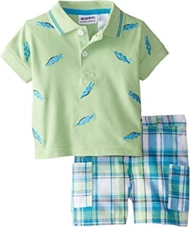 Blueberi Boulevard Baby Boys' 2 Piece Baseball Plaid Short Set