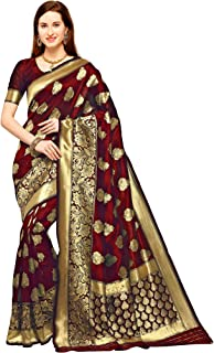 RUDDHI INDIA Women's Banarasi Silk Saree with Blouse Piece