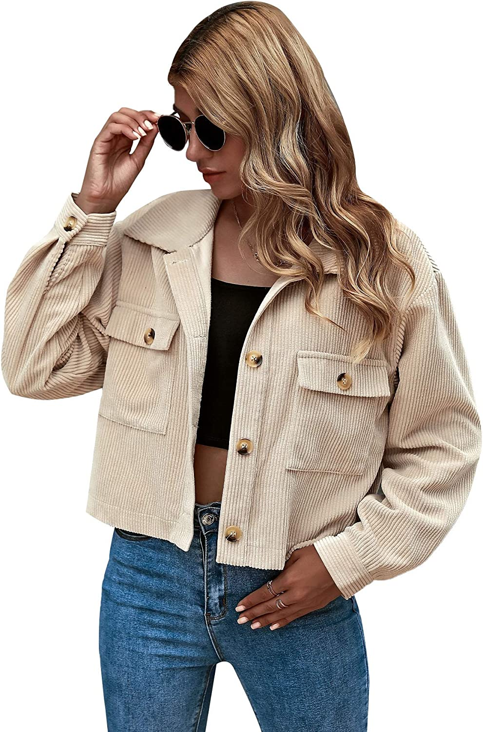 Milumia Women Casual Button Front Jacket Drop Shoulder Collared Plain Outwear with Flap Pockets