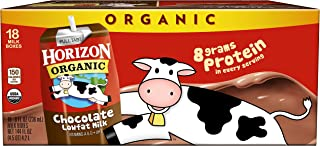 Horizon Organic, Lowfat Organic Milk Box, Chocolate, 8 Fl. Oz (Pack of 18), Single Serve, Shelf Stable Organic Chocolate F...