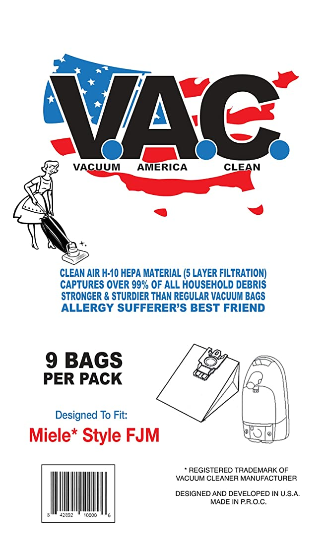 9 Cloth HEPA Bags and 2 Filters by Vacuum America Clean - Miele FJM Compatible Vacuum Bags, Miele Part # 7291640. Designed by Vacuum America Clean to fit The Miele HyClean FJM Canister Vacuum Cleaner