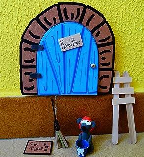La puerta mágica del ratoncito Pérez personalizable. Incluye ratoncito, escalera, escoba y alfombra