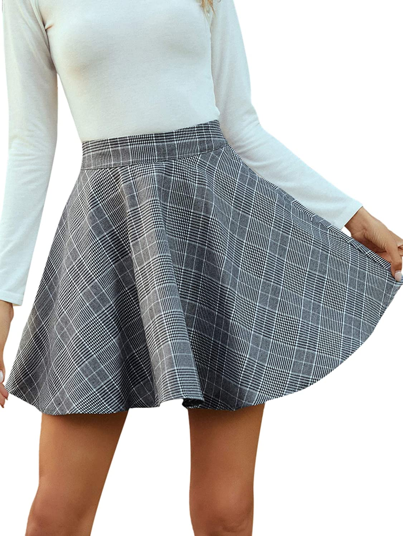 SheIn Women's Preppy Plaid High Waist Flare A Line Skater Short Mini Skirt
