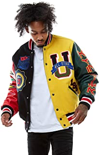 Smoke Rise Unisex All Star Varsity Jacket Hipster Urban NYC Utility Outerwear, Fur Jacket and Wool Melton Jacket