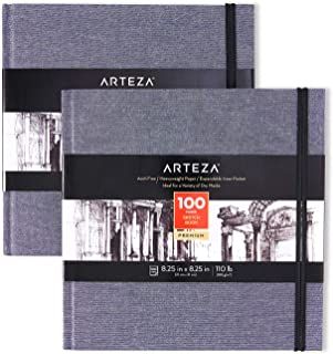 Arteza Art Sketch Book, 8.25x8.25 inch, 100 Sheets, Dusty Blue Square Linen-Bound Hardcover, 2-Pack, 110lb, 180gsm, Acid-Free Sketchbooks for Drawing with Dry Media