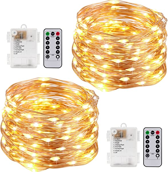 Kohree String Lights LED Copper Wire Fairy Christmas Tree Light With Remote Control 33ft 10M 100LEDs AA Battery Powered Twinkle Lights For Holiday Wedding Parties Pack Of 2
