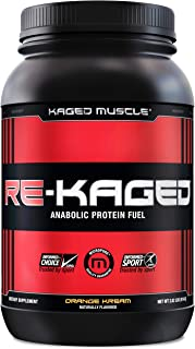 KAGED MUSCLE, RE-KAGED Whey Protein Powder, Post Workout Recovery, BCAA's, EAA's, Creatine HCl, Glutamine, Betaine, Natural Flavors, Orange Kream, 20 Servings