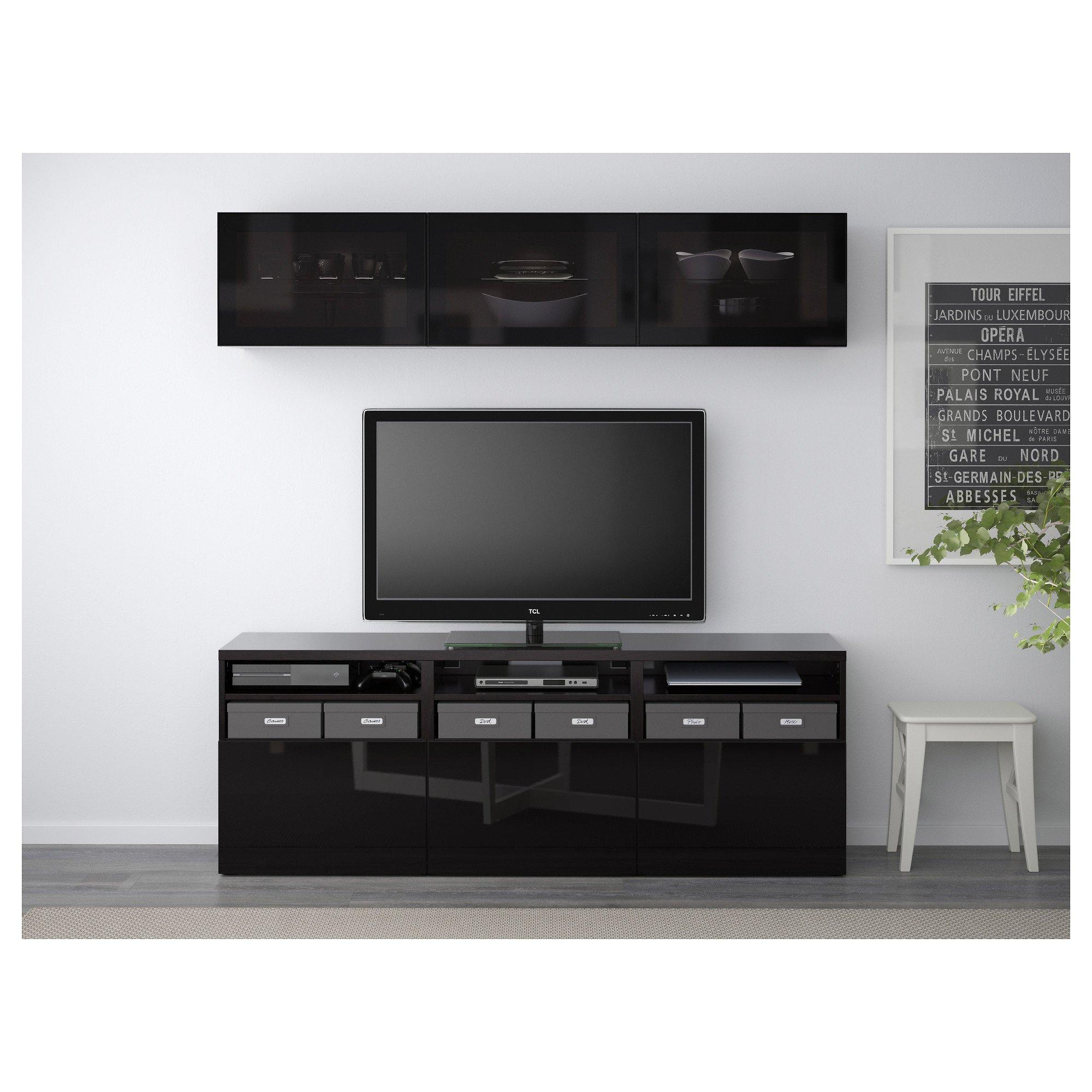 IKEA BESTA - almacenaje de la TV puertas combinación / de vidrio Negro-marrón / selsviken alto brillo / vidrio ahumado negro: Amazon.es: Hogar