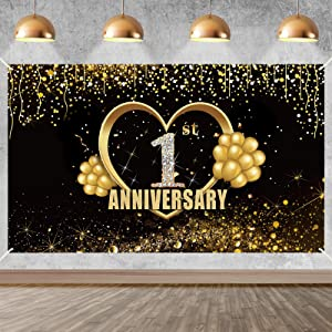 Yoaokiy 1 Year Anniversary Banner Decorations, Extra Large Happy 1st Wedding Anniversary Backdrop Poster Sign Supplies, Gold One Year Anniversary Decor Photo Props for Outdoor Indoor(6 X 3.6ft)