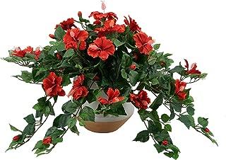 House of Silk Flowers Artificial Trailing Hibiscus in White Designer Round Ceramic Vase (Red)