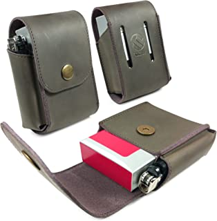 Tuff-Luv Genuine Western Leather Cigarette/Tobacco/Case with a Belt Loop - Mocca Brown