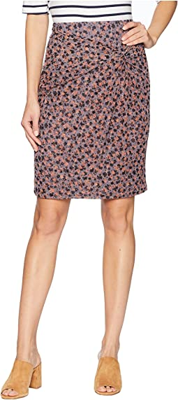 Ditsy Drift Ruched Mini Skirt w/ Knot