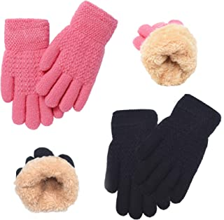 Sponsored Ad - Winter Gloves for Boys Girls - Kids Warm Knit Thermal Cable Knitted Gloves Wool Fleece Lined Mittens for Co...