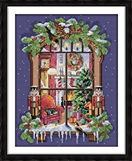 Joy Sunday Cross Stitch Kits Cross-Stitch Pattern The Window Of The Christmas with DMC Threads 11CT Stamped 18 ''×22 ''