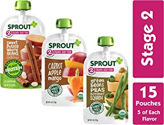 Sprout Organic Stage 2 Baby Food Pouches, Variety Pack, 4 Ounce (Pack of 15) 5 of Each: Sweet Potato White Bean Cinnamon, Carrot Apple Mango & Green Bean Peas Butternut