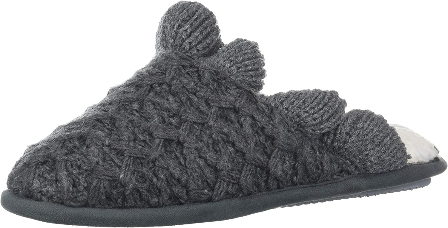 Nine West Women's Textured Knit Closed Toe Scuff with Ruffle Slipper, Dark Heather Grey-3, S Regular US