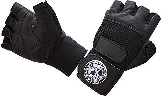 Nibra Gym Wear USA Gym Gloves Black with Wrist Wrap for Man & Women, Padded, Workout, Crossfit, Weightlifting,Biking.