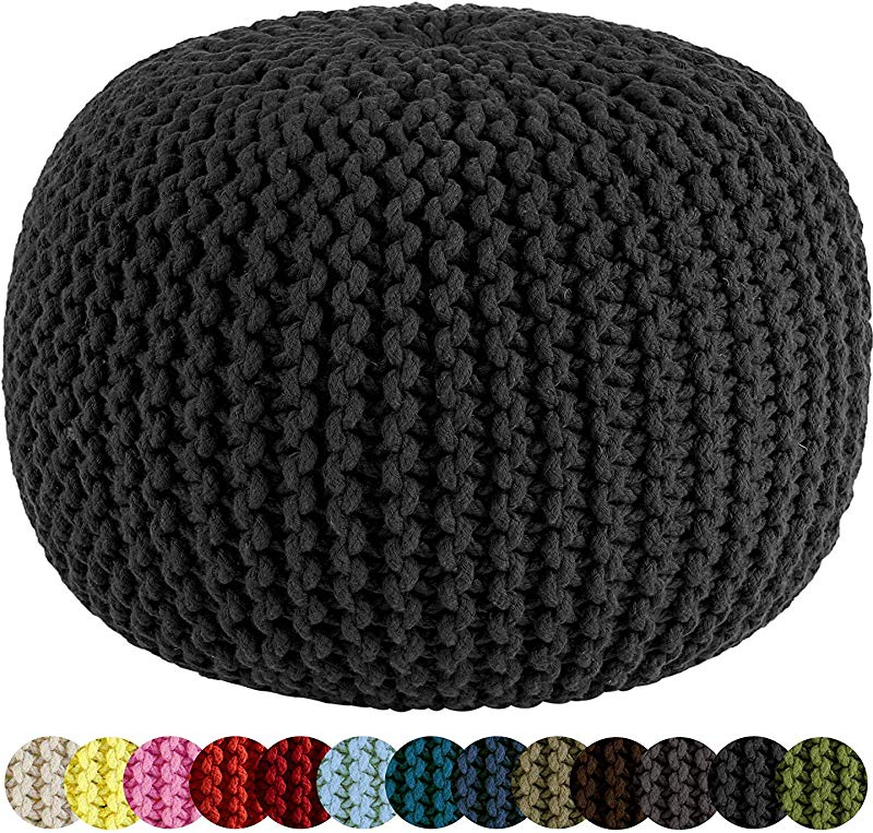 RAJRANG BRINGING RAJASTHAN TO YOU Hand Knit Pure Cotton Pouf Black Braid Cord Stitched Round Ottoman Foot Stool Home Decorative Seat For Guests D 20 X H 14 Inch