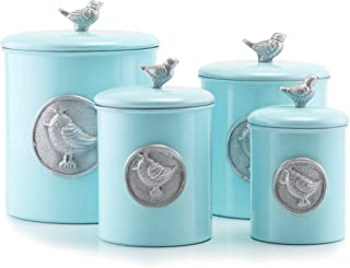 Old Dutch 1543 4Piece Rustic/Distressed Finish Bluebird Canister Set, Blue