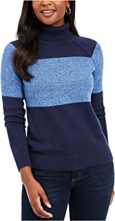 KAREN SCOTT Womens Navy Textured Color Block Long Sleeve Turtle Neck Sweater Petites US Size: PL