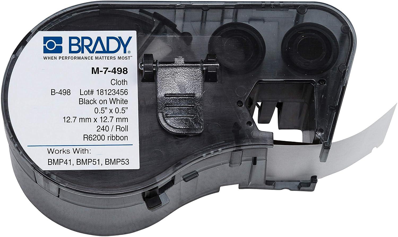Brady M-7-498 Vinyl Cloth B-498 Black on White Label Maker Cartr