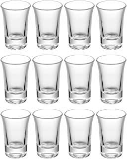 12 Schnapsgläser Shotgläser Set Glas 4cl | Standfest - Spülmaschinenfest | Pinnchen Gläser für Tequila Wodka