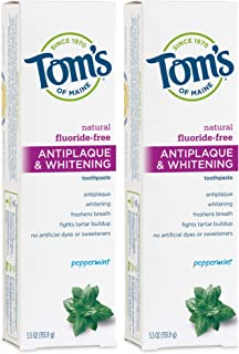 Tom's of Maine Fluoride-Free Antiplaque & Whitening Toothpaste, Whitening Toothpaste, Natural Toothpaste, Peppermint, 5.5 ...