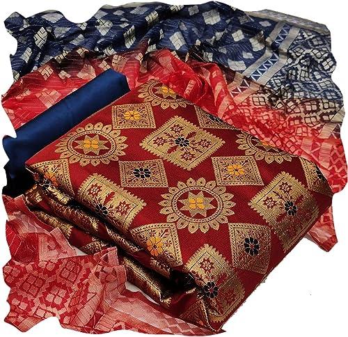 women banarasi dress material with banarasi silk dupatta