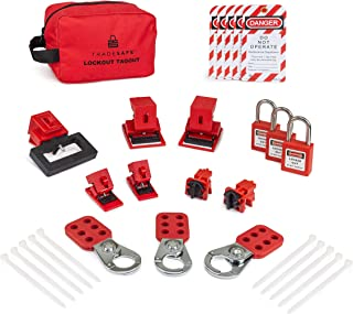 TRADESAFE Complete Breaker Lockout Tagout Electrical Safety Kit. 120/277V to Oversized 480/600V Breaker Lock Outs, 3 Keyed Different Red Loto Padlocks, 3 Hasps, 5 Safety Tagout Out Danger Tags