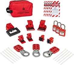 TRADESAFE Breaker Lockout Tagout Electrical Loto Kit. 120/277V to 480/600V Circuit Lock Outs. Set Includes Keyed Different Red Safety Padlocks, Hasps, Tags. Devices for Station Refill