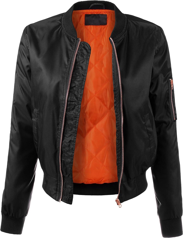 BEKTOME Womens Nylon Twill Padding Solid Classic Military Zip Up Bomber Jacket
