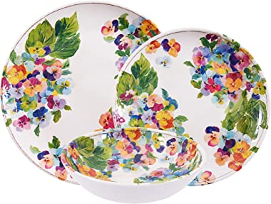 First Design Global Hydrangea Decorative Floral 12 Piece Melamine Dinnerware, Unique Dish Set for Parties or Everyday Use, Service for 4