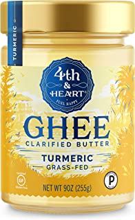 Turmeric Grass-Fed Ghee Butter by 4th & Heart, 9 Ounce, Pasture Raised, Non-GMO, Lactose Free, Certified Paleo and Keto