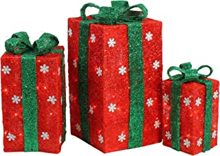 Northlight Set of 3 Tall Lighted Red Sisal Gift Boxes with Green Bows Outdoor Christmas Decorations
