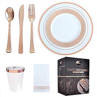 VNSG Juego de platos de plástico de oro rosa┃175 piezas