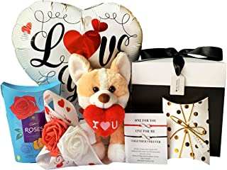 CARILU Anniversary Present for Him/Her - Cozy Plush Puppy With Love Heart - Box of Chocolate - I Love You Helium Balloon - Infinity Love Bracelet - Roses