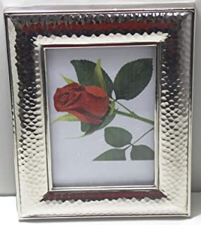 STREET CRAFT Handcrafted Aluminum Hand Hammered Photo Frame/Aluminum Photo Picture Frame Gift/Photo Frame/Picture Frame, Vintage Styled Stained Glass Photo Frame Clear Textured Glasses Hammered